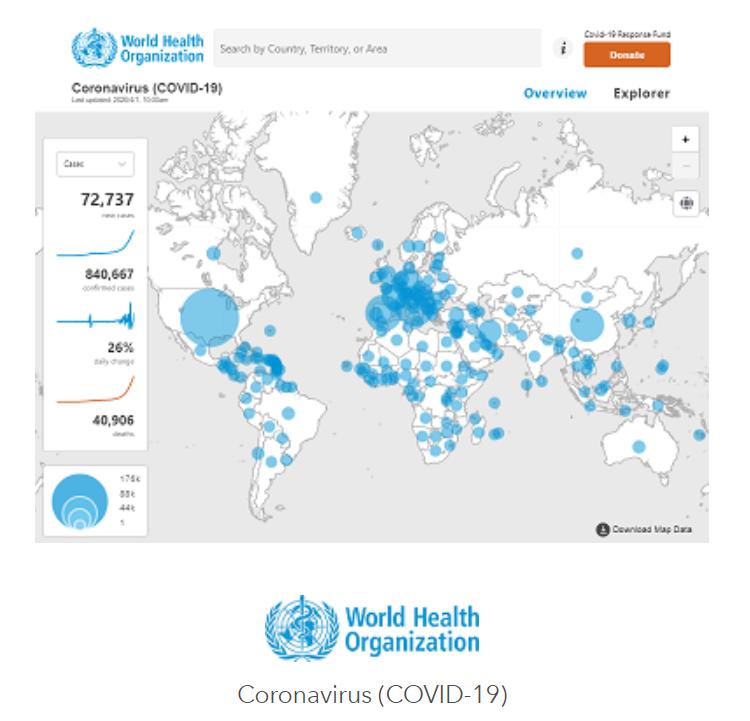 Corona Impfung München - die Karte der WHO / Weltgesundheits-Organisation zeigt die aktuellen Fallzahlen weltweit